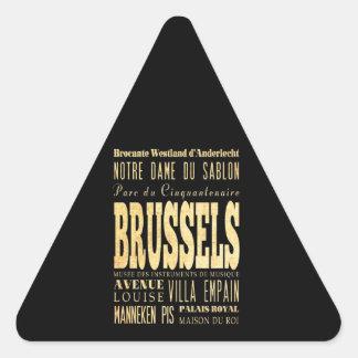 Brussels City of Belgium Typography City Art Triangle Sticker