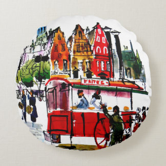 Brussels City Round Pillow