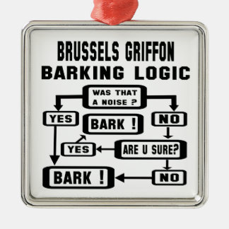 Brussels Griffon Barking Logic ! Metal Ornament