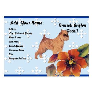 Brussels Griffon ~ Blue w/ White Diamond Design Business Card Templates