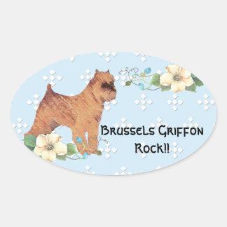 Brussels Griffon ~ Blue w/ White Diamond Design Oval Sticker