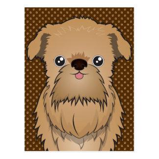 Brussels Griffon Dog Cartoon Paws Postcard