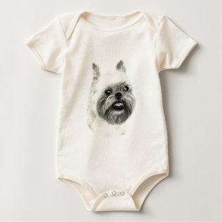 Brussels Griffon Dog Drawing Baby Bodysuit