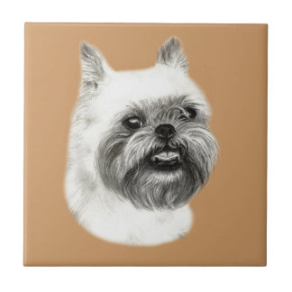 Brussels Griffon Dog Drawing Ceramic Tile