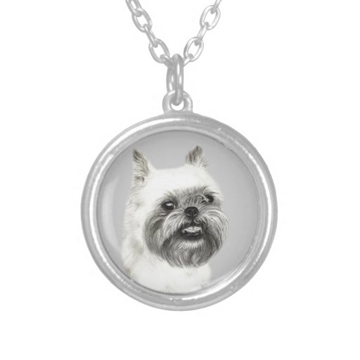 Brussels Griffon Dog Drawing Round Pendant Necklace