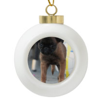 brussels griffon front view ceramic ball christmas ornament