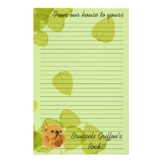Brussels Griffon ~ Green Leaves Design Stationery