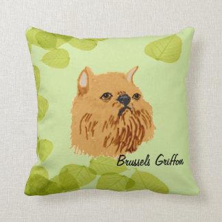 Brussels Griffon ~ Green Leaves Design Throw Pillow