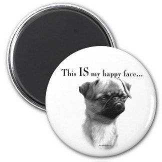 Brussels Griffon Happy Face 2 Inch Round Magnet