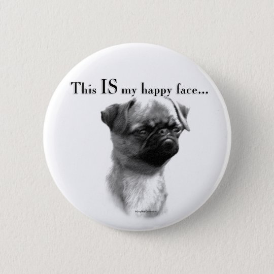 Brussels Griffon Happy Face Pinback Button