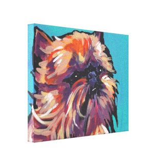 Brussels Griffon Pop Dog Art on Wrapped Canvas
