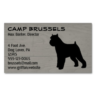 Brussels Griffon Silhouette Wood Grain Magnetic Business Card
