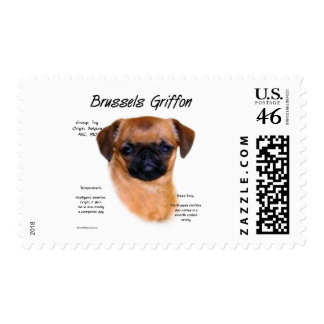 Brussels Griffon smooth History Design Postage Stamps
