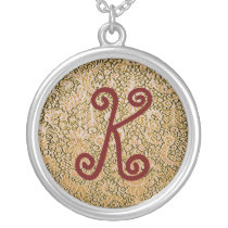 Brussels Lace Golden Brown Pattern Round Necklace