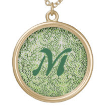 Brussels Lace Green Image Pattern Round Necklace