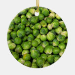 Brussels sprouts Double-Sided ceramic round christmas ornament