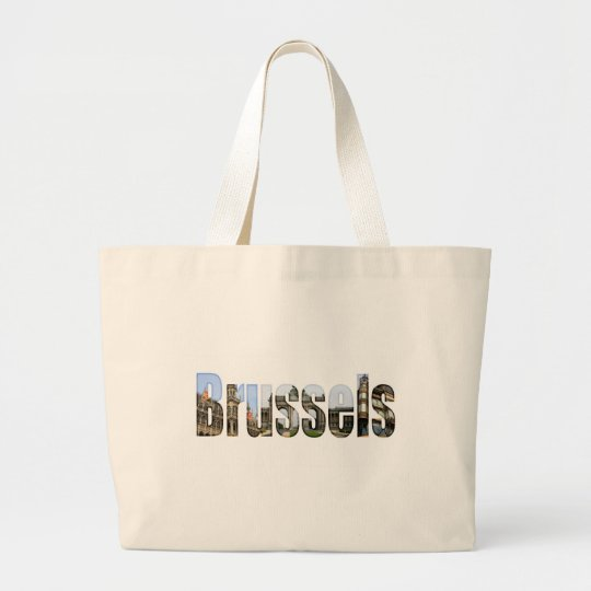 Brussels with tourist sites in letters large tote bag