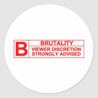 brutality rating classic round sticker