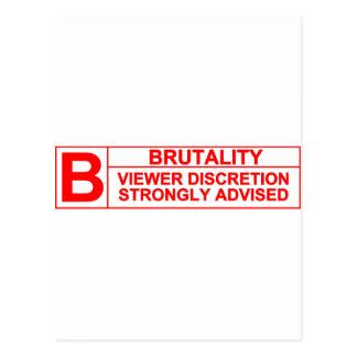 brutality rating postcard