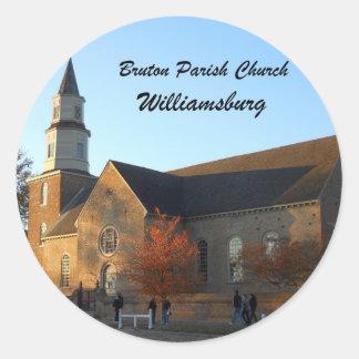 Bruton Parish Church, Williamsburg Classic Round Sticker