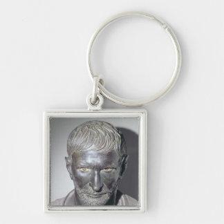 Brutus de Capitoline, 4to-3ro siglo A.C. Llavero Cuadrado Plateado