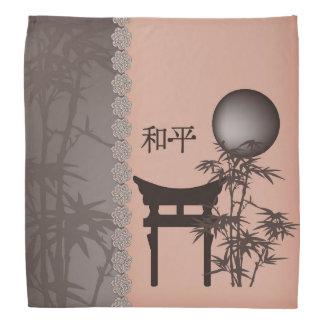 """Brwon pagoda bamboo peach """"Peace"""" bandana"""