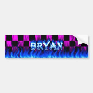 Bryan blue fire and flames bumper sticker design. car bumper sticker