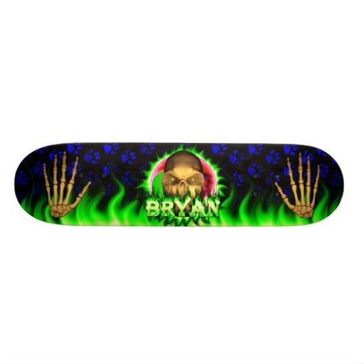 Bryan skull green fire Skatersollie skateboard