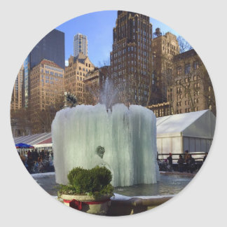 Bryant Park NYC Frozen Fountain Christmas Stickers