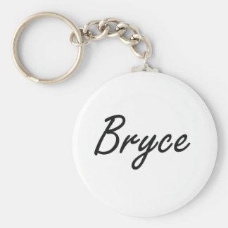 Bryce Artistic Name Design Basic Round Button Keychain