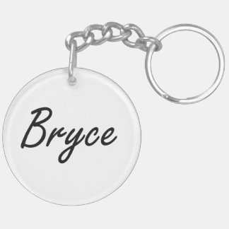 Bryce Artistic Name Design Double-Sided Round Acrylic Keychain