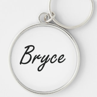 Bryce Artistic Name Design Silver-Colored Round Keychain
