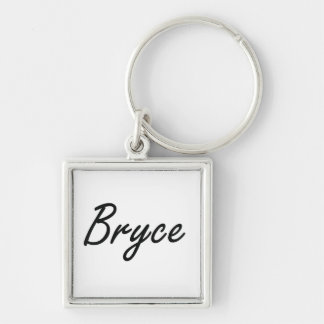 Bryce Artistic Name Design Silver-Colored Square Keychain