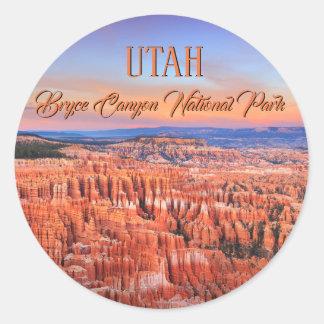 Bryce Canyon Desert Sunset Photo Classic Round Sticker