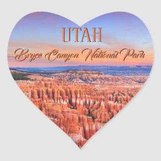 Bryce Canyon Desert Sunset Photo Heart Sticker