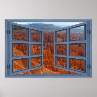 Bryce Canyon In Utah 6 Pane Open Window Poster