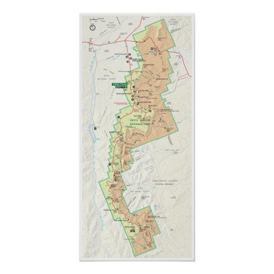 Bryce Canyon map poster | Zazzle.com