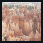 "Bryce Canyon National Park Stone Coaster<br><div class=""desc"">Taken in beautiful Bryce Canyon National Park in Utah,  the hoodoos stand out in their orange and white colors against the pine trees.  Customize with your family name or favorite short saying!  Find more products in my shop: RusticandPaw</div>"