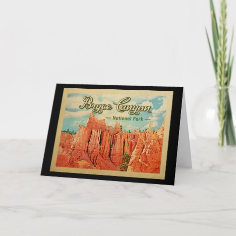 Bryce Canyon National Park Vintage Travel Card