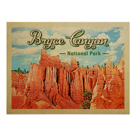 Bryce Canyon National Park Vintage Travel Poster