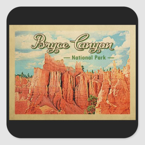 Bryce Canyon National Park Vintage Travel Square Sticker