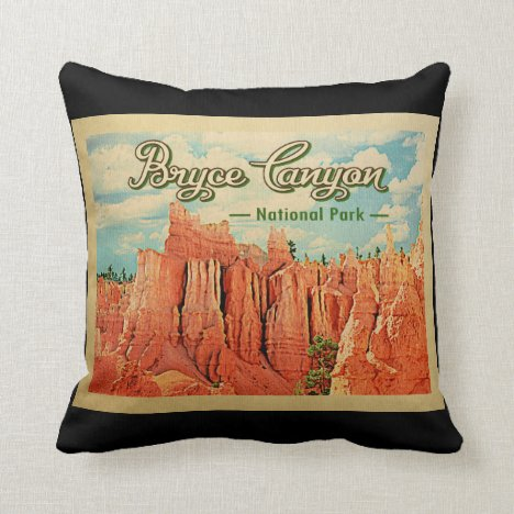 Bryce Canyon National Park Vintage Travel Throw Pillow