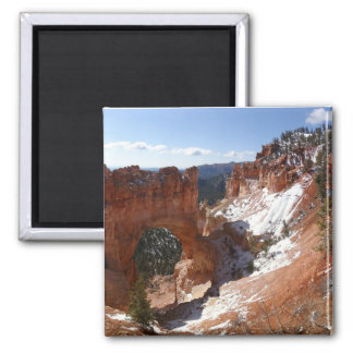 Bryce Canyon Natural Bridge Snowy Landscape Photo 2 Inch Square Magnet