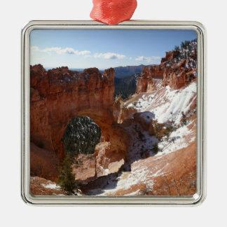Bryce Canyon Natural Bridge Snowy Landscape Photo Metal Ornament
