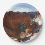 Bryce Canyon Natural Bridge Snowy Landscape Photo Paper Plate