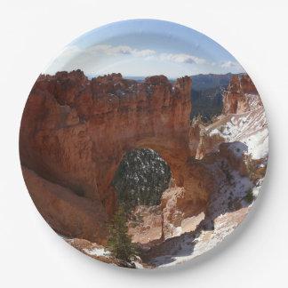 Bryce Canyon Natural Bridge Snowy Landscape Photo Paper Plate