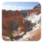 Bryce Canyon Natural Bridge Snowy Landscape Photo Square Sticker