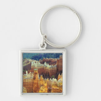 Bryce Canyon Silver-Colored Square Keychain