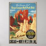 Bryce Canyon Utah Vintage Travel Poster Ad Retro