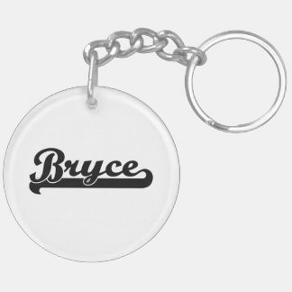 Bryce Classic Retro Name Design Double-Sided Round Acrylic Keychain